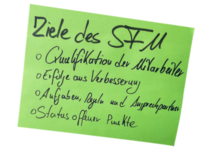 Ziele des Shopfloor-Managements als Post-It